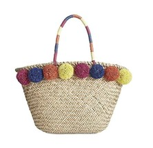 INC International Concepts Livie Pom Pom Large Straw Tote Beach Bag - $40.00