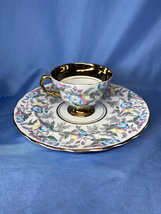 Rosina 5200 Fine Bone China Blue Floral Print With Gold Trim Cup and Saucer - $24.99