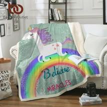 Unicorn Bed Throw Rainbow Beds Blanket Plush Fleece Girls Bedroom Fluffy... - $27.02+