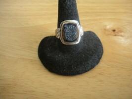 Vintage Designer SAJEN Sterling Silver Blue / Purple Druzy Quartz Ring ~... - $38.61