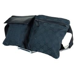 Auth Gucci GG Pattern Canvas Leather Black Waist Belt Bum Bag GW2070 - $329.00