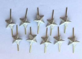 Lot of 10 Russian Army Lieutenant Epaulet metal Rank Star pin Silver Ribbed 13mm - $6.13