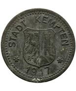 1917 10 Pfennig German Coin Kempten Stadt, Bayern Notgeld (MO1477-) - $16.00