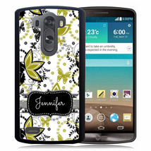 PERSONALIZED RUBBER CASE FOR LG G6 G5 G4 G3 GREEN BLACK BUTTERFLY - $11.50