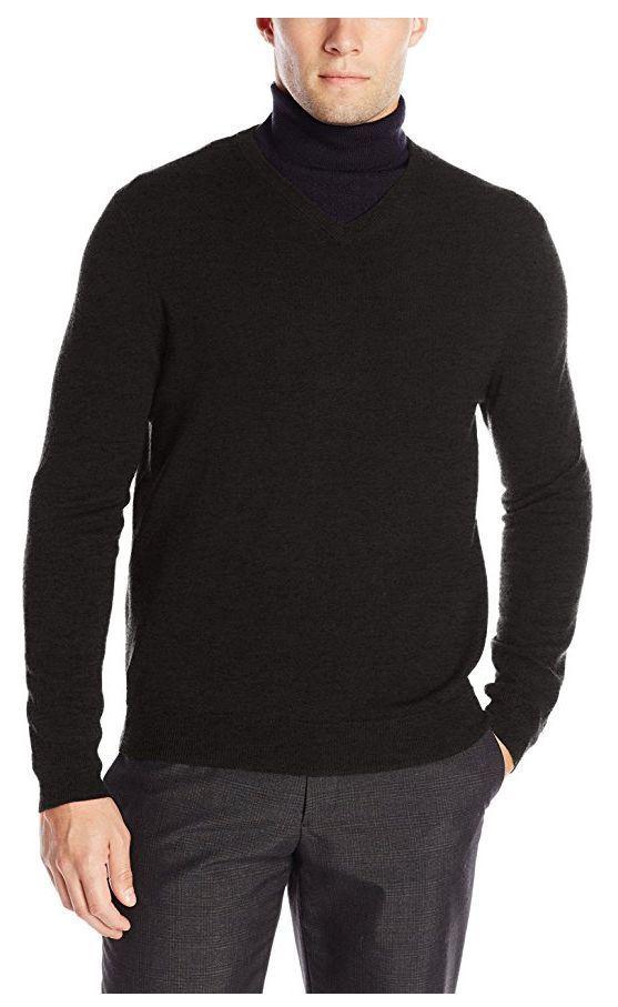 02f93ca91563 Calvin Klein Men's Merino Solid V-Neck Sweater, Dusty Black, Size L. -  $24.74
