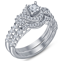 Round Cut CZ 14k White Gold Plated 925 Silver Beautiful Bridal Wedding R... - $93.17