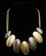 Alfani Necklace Silvertone & Goldtone Metal Hammered Oval Discs w/ Chain - $11.87
