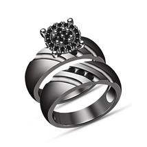 Round Cut Black Diamond Engagement Wedding Bridal Ring Set 14k Black Gold Finsih - $94.99