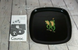 "Couroc Frogs Dancing Tray Monterey of CA Inlaid Wood Brass 8 1/2"" - $64.34"
