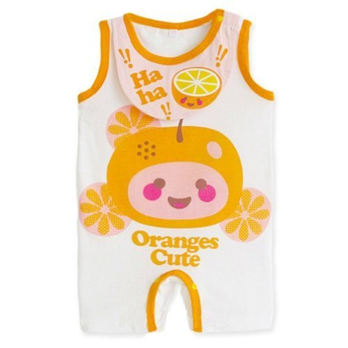 Cute Sleeveless Infant Bodysuit Toddlers Onesies Baby Romper With Bib Orange