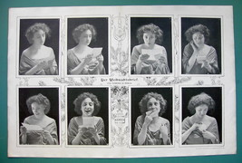 """CHRISTMAS LETTER Girl in Love 8 Emotions - VICTORIAN Era Print 14.5"""" x 22"""" - $21.60"""