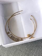 SALE* AUTHENTIC Christian Dior 2019 J'ADIOR Star Hoop Earrings Aged Gold image 8