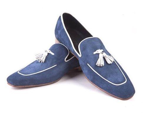 Made To Order Apron Toe Suede Leather Blue Tassel Loafer Slip Ons Men Shoes