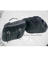 Black Leather 2pc Motorcycle Saddlebag Set with Studs Biker Luggage Buckle - $54.89