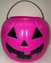 Vtg Halloween Pumpkin Jack O Lantern Bucket General Foam Plastics Pink - £10.66 GBP