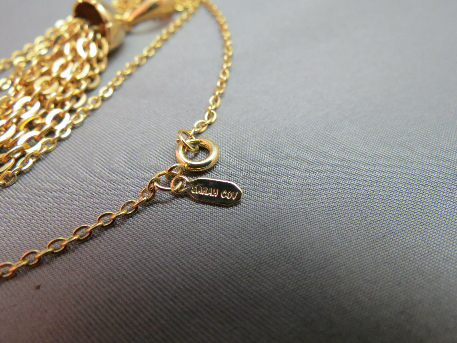 """VTG Sarah Coventry Chain Necklace Tassel Pendant Gold Plated 23"""" Smooth Finish image 5"""