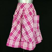 Med Skirt Full Circle Lagenlook Big Pocket Fuschia Pink White Plaid PAPER DOLL  - $18.95