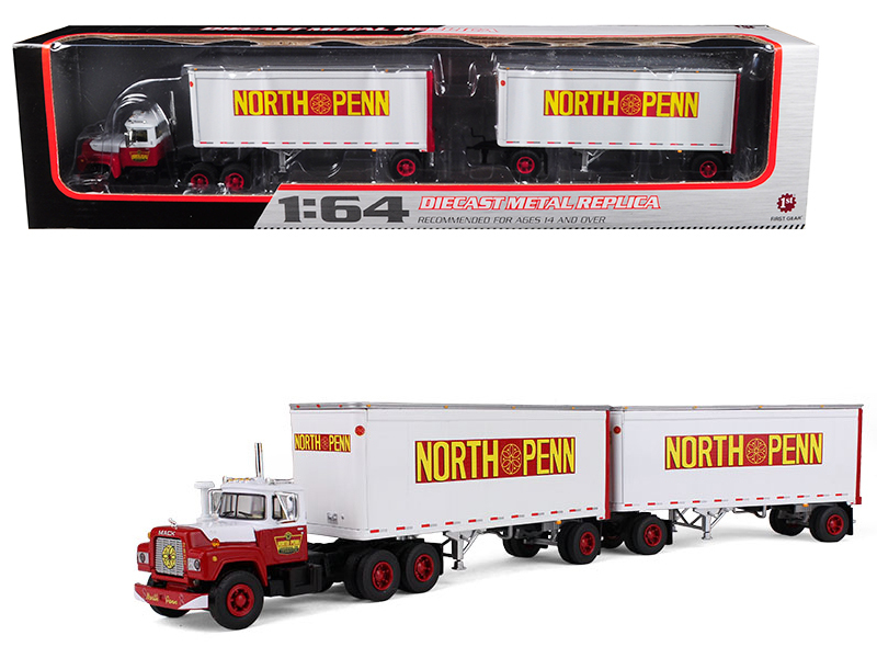 Mack R Model Truck North Penn With Dual 28\' Trailers 1/64 Diecast Model by Firs