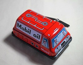 """New VINTAGE Tin Toy Sanko Wind Up Auto Turn 3"""" Mobil Oil Truck Made in J... - $14.80"""
