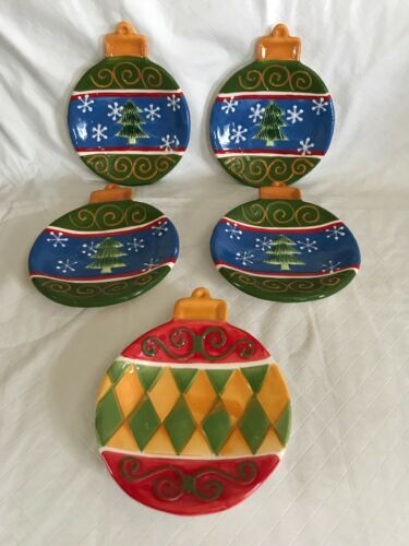 Primary image for STUDIO 33 CERAMIC HOLIDAY CHRISTMAS TREE BALL ORNAMENT Canapé Plates Set of 5