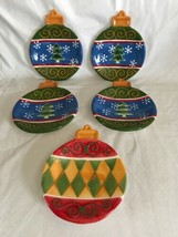 STUDIO 33 CERAMIC HOLIDAY CHRISTMAS TREE BALL ORNAMENT Canapé Plates Set... - $21.77