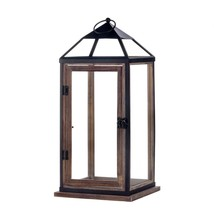Metal Candle Holder Lantern, Large Wooden Trim Contemporary Lantern Cand... - $49.49