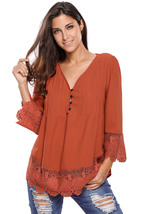 Brown Lace Detail Button Up Sleeved Blouse  - $18.80