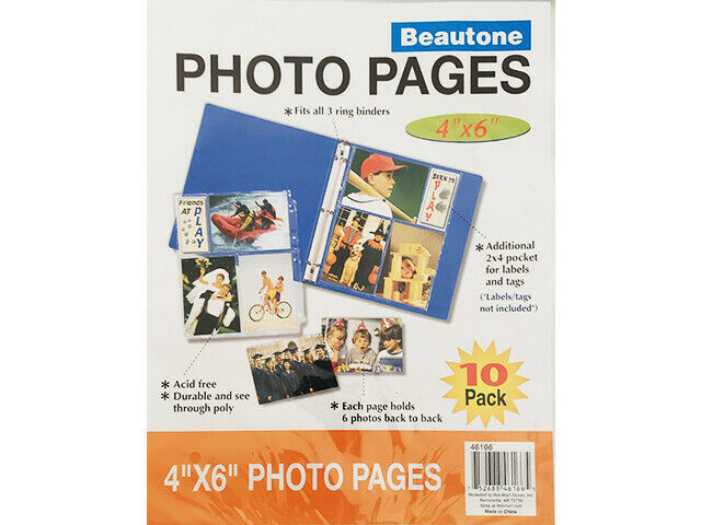 """Beautone Photo Pages 4""""x6"""", 10 Pack #46166"""