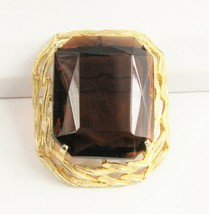 ESTATE VINTAGE Jewelry HUGE EMERALD CUT TOPAZ GLASS STATEMENT BROOCH - $85.00