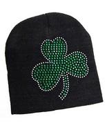 St Patricks Day Hat Beanie Shamrock Green Glitter Black Knit Stretch One... - $9.85