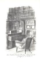 VINTAGE POSTCARD PENCIL SKETCH OF SIR WALTER SCOTT'S STUDY ABBOTSFORD U.K. - $5.57