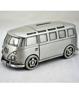 Caravan Mercedes Trailer Camp Money Coin Piggy Bank Silver Resin Vintage... - $61.74