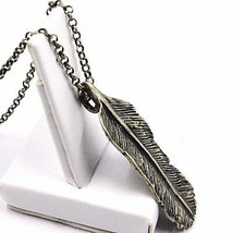 Necklace and Pendant, Silver 925, Burnished Satin, Feather, Rolo Chain image 2