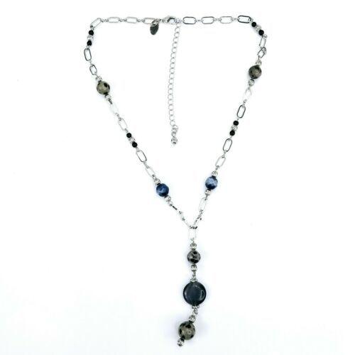 Lia Sophia Signed Silvertone Grey Smoke Faceted Beaded Dangle Drop Necklace - $14.54
