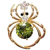 Navachi 18k Gold Plated Green Zircon Crystal Spider Az7228b Brooch Pin - $16.91