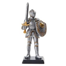 5 Inch Medieval Knight with Classic Shield and Sword Statue Figurine - $15.44