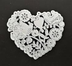 Lovebirds in a Heart Die - Card Making, Scrapbooking, Art Journaling