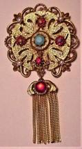 Stunning FLORENZA Vintage Jeweled Rhinestone Faux Pearl Brooch Pin - $99.00
