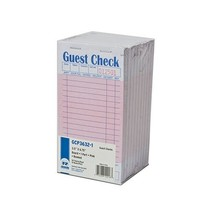 Royal Pink Guest Check Board, 1 Part Booked with 15 Lines, Package of 10... - $9.64