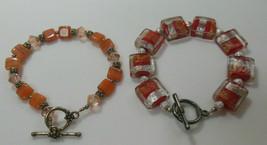 Vintage Art Glass Bead Bracelet Toggle Clasp- lot of 2  - $25.74