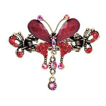 Retro Luxury Aulic Style Crystal Bronze Alloy Hair Claws, Butterfly(Red)