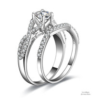 0.56 ct Round Cut Infinty 925 Sterling Silver Cubic Zirconia Engagement Ring Set - $52.56