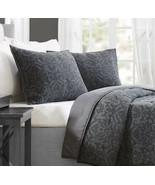 2 Better Homes & Gardens Damask King Pillow Shams Gray Charcoal Nwop Pair - £22.90 GBP