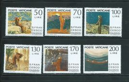 1977 St Francis of Assisi Set of 6 Vatican Stamps Catalog Number 607-12 MNH