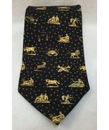"Neck Tie Mens Black Gold Zodiac Sign Horoscope Animals 100% Silk 59""  Vi... - $12.86"