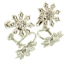 Vintage Sterling Very Pretty Marcasite Flower Motif Screw Back Earrings ... - $48.59