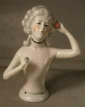 Nude Half Doll / Pincushion Doll with Wig and Flower - $60.00