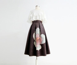 Women Floral Midi Party Skirt Outfit Vintage Embossed Midi Skirt Plus Size image 7