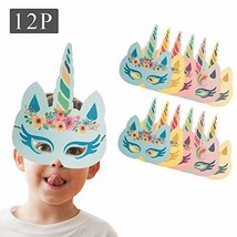 Kids Birthday Masks Party Hat Eye Masks Unicorn Horns Elastic Headband P... - $11.63