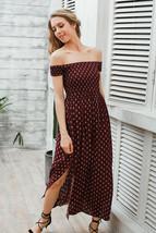 2017 Chic Split Boho Dress - Wine Red High Waist Pleated Maxi Dress - $33.99